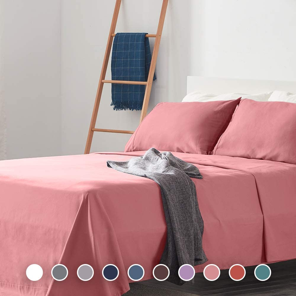 SLEEP ZONE Bed Sheet Sets Cozy Brushed Microfiber Soft Wrinkle Free Fade Resistant with 16 inch Deep Pocket Easy Care Sheets 4 PC, Pink, Full