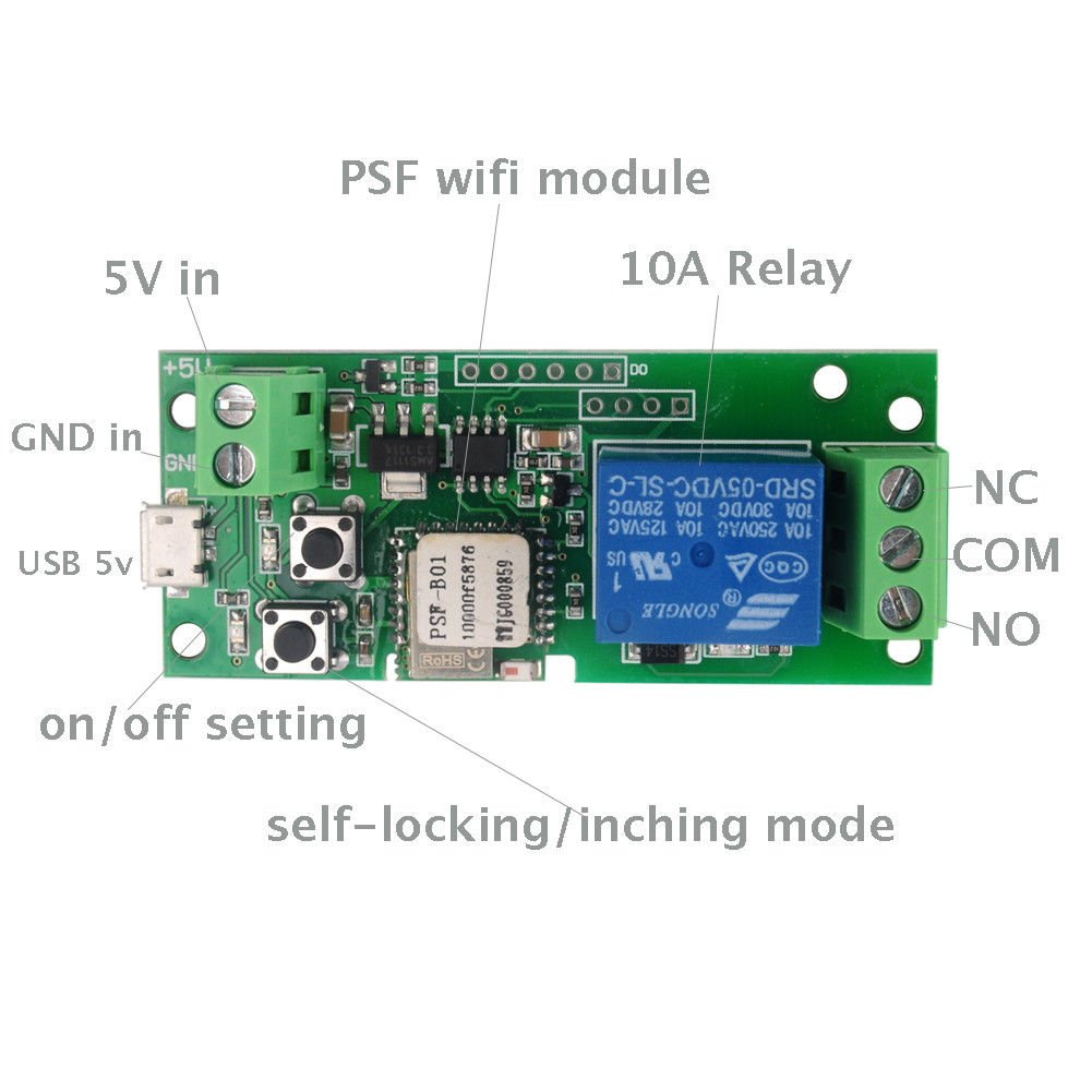MHCOZY WiFi Wireless Smart Switch Relay Module for Smart Home 5V 5V/12V,Ba applied to access control, turn on PC, garage door (5v) by MHCOZY (Image #3)