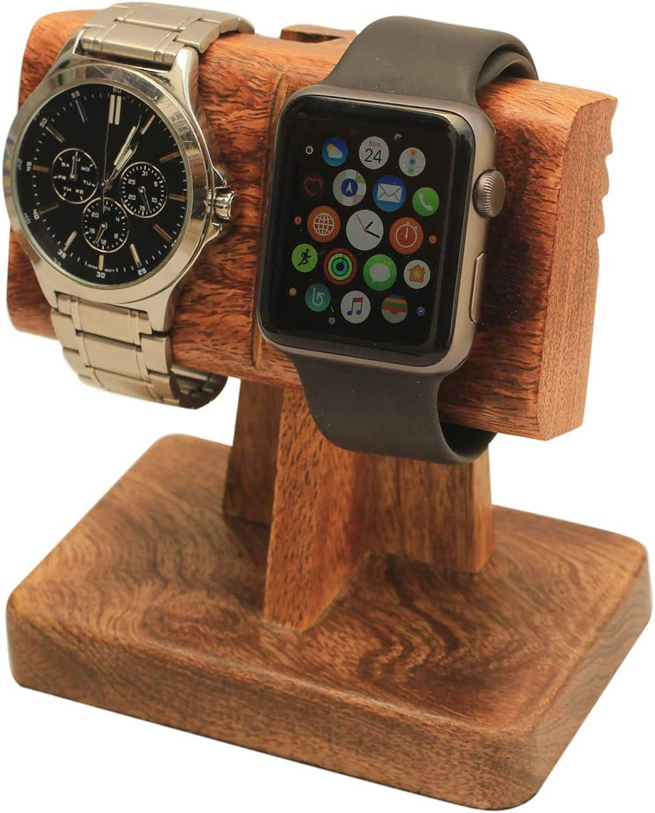 abhandicrafts 2 in 1 Watch Stand Nightstand Organizer Platform for All Models Moms, DADS, Grandparents Made from Mango Wood