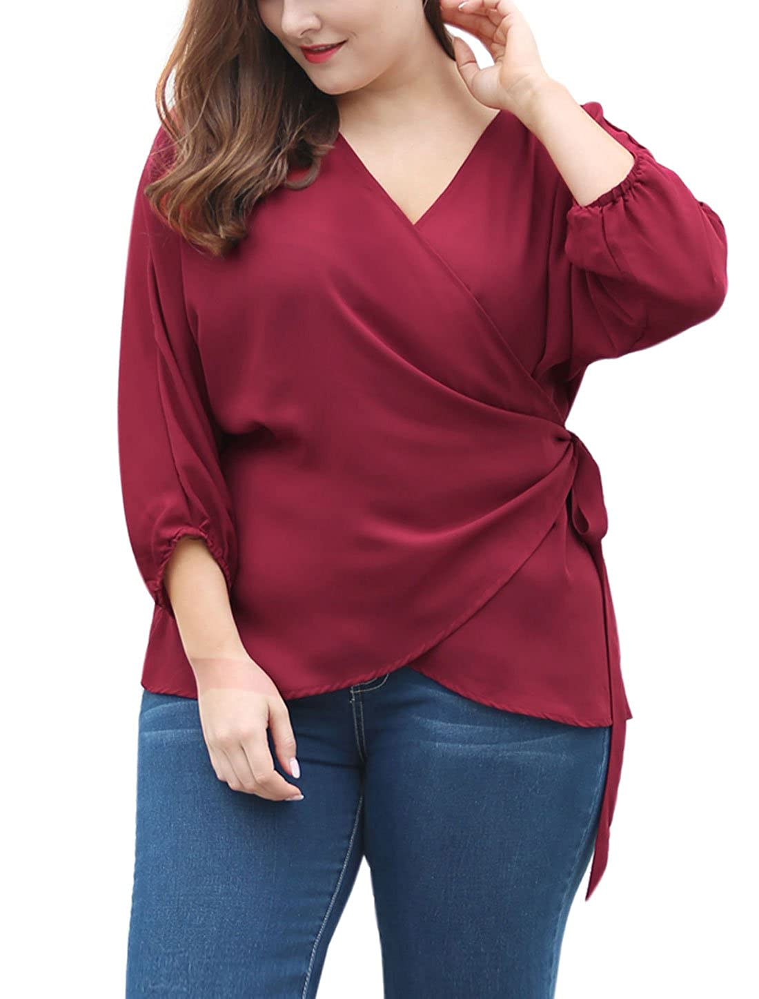 uxcell Women's Plus Size Tie-Belt V-Neck Wrap Chiffon Top g16112100ux0016
