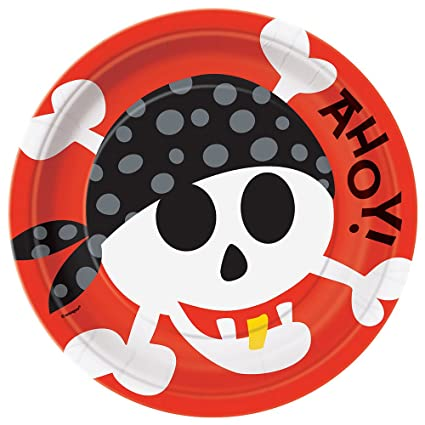 Pirate Party Dinner Plates 8ct  sc 1 st  Amazon.com & Amazon.com: Pirate Party Dinner Plates 8ct: Childrens Party Plates ...