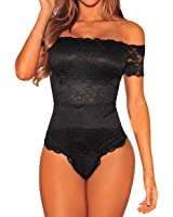 Shawhuwa Womens Sexy Floral Lace Off Shoulder Bodysuit Tops Clubwear