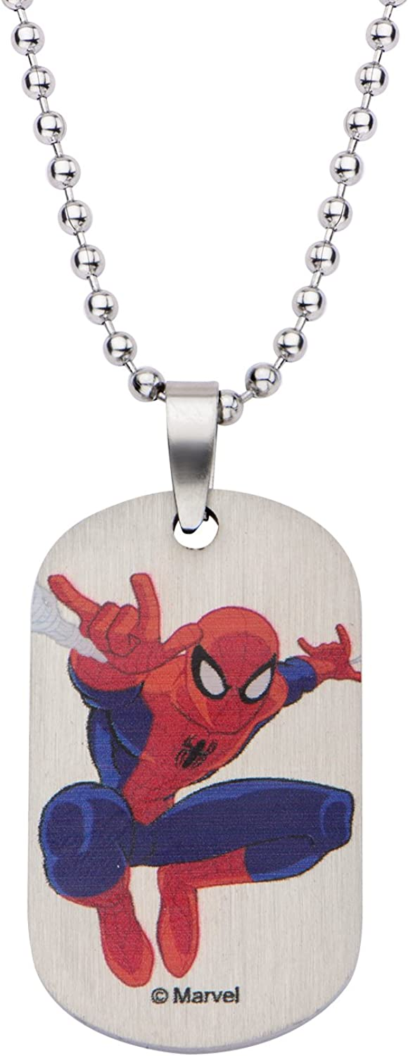 """Marvel Comics Boys' Stainless Steel Spiderman Dog Tag Chain Pendant Necklace, 16"""""""