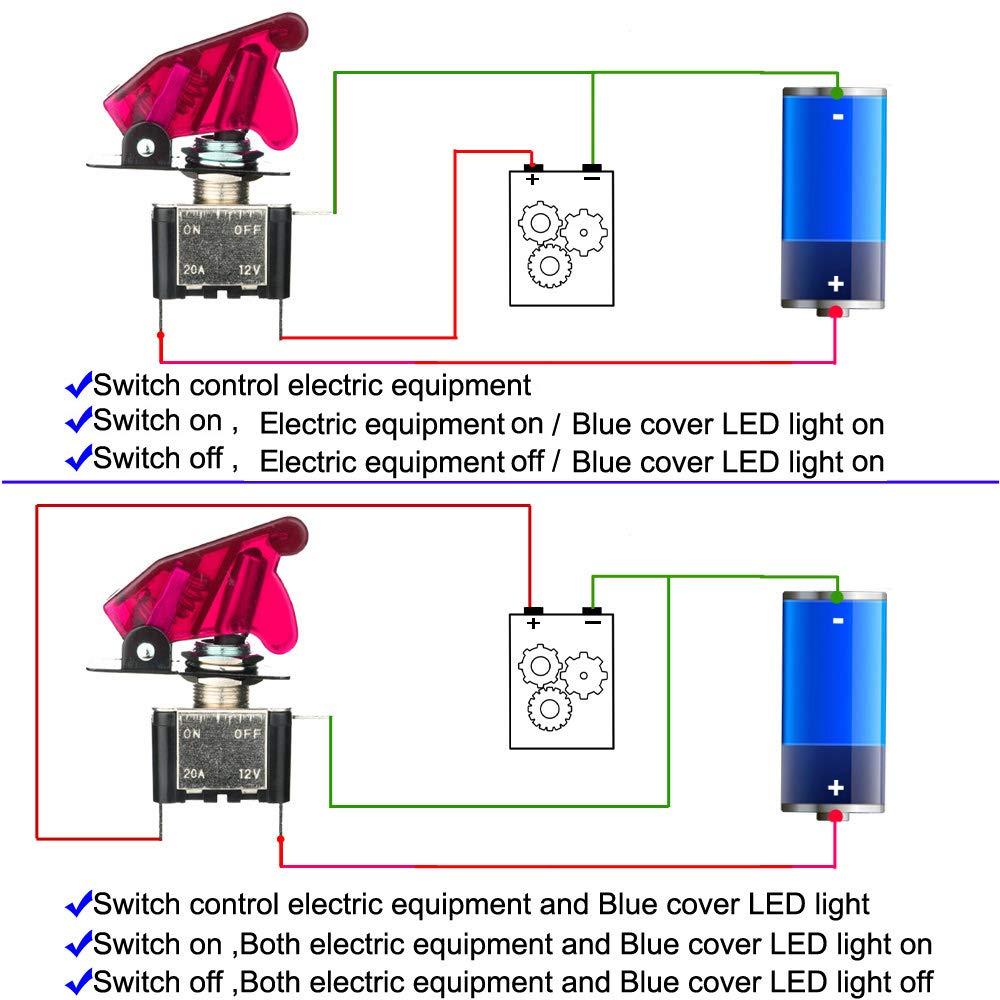 LED Rouge SPST M/étal Interrupteur /à Levier Utilis/é pour la Voiture Auto Camion Bateau avec Capuchon /étanche on//Off 2 Positions 3 Broches Gebildet 3 pi/èces Interrupteur /à Bascule DC12V 20A