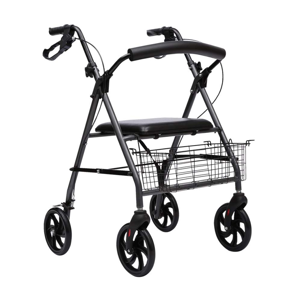 Rollator Walker Drive Nitro, Adjustable Handle Height with Upholstered Seat and Lower Basket Auxiliary Walking Safety Walker by YL WALKER
