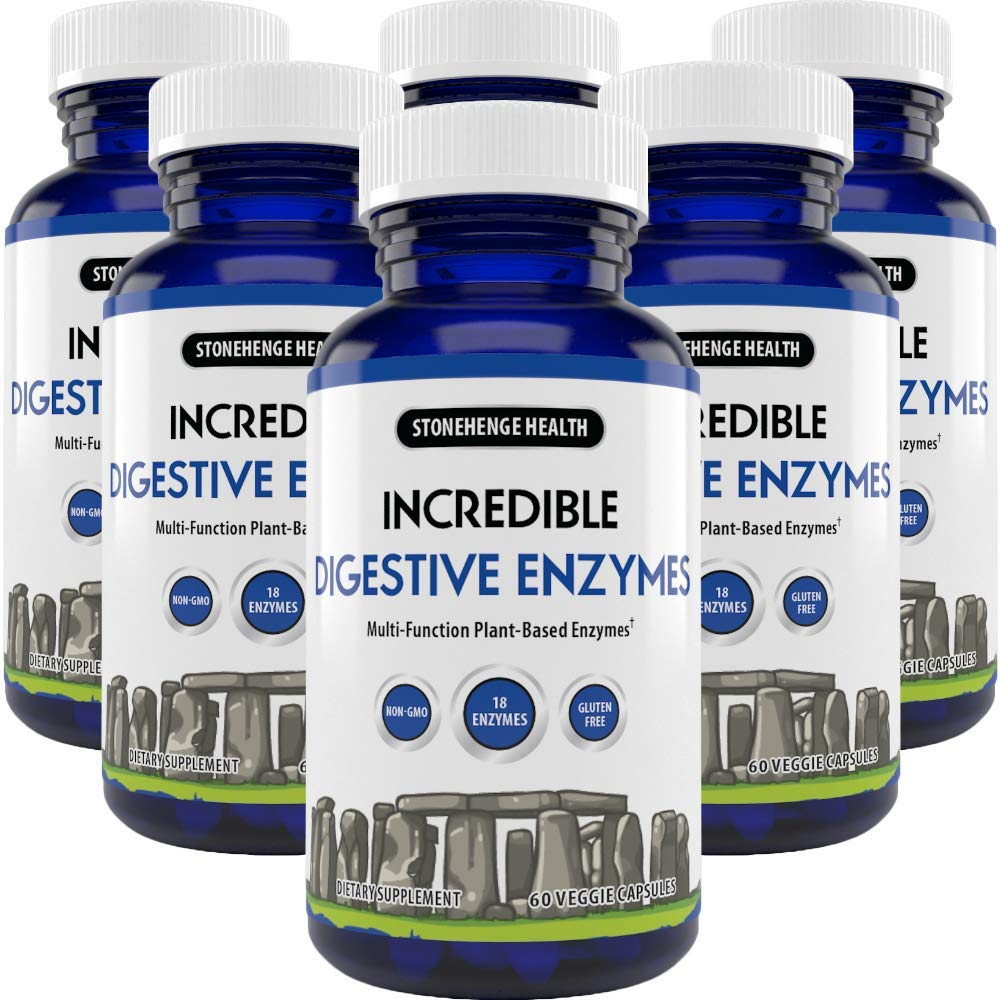 Stonehenge Health Incredible Digestive Enzymes - 18 Plant-Based Enzymes - Lipase, Lactase, Protease, Amylase, Bromelain for Gas, Bloating, Fatigue (6 Pack)