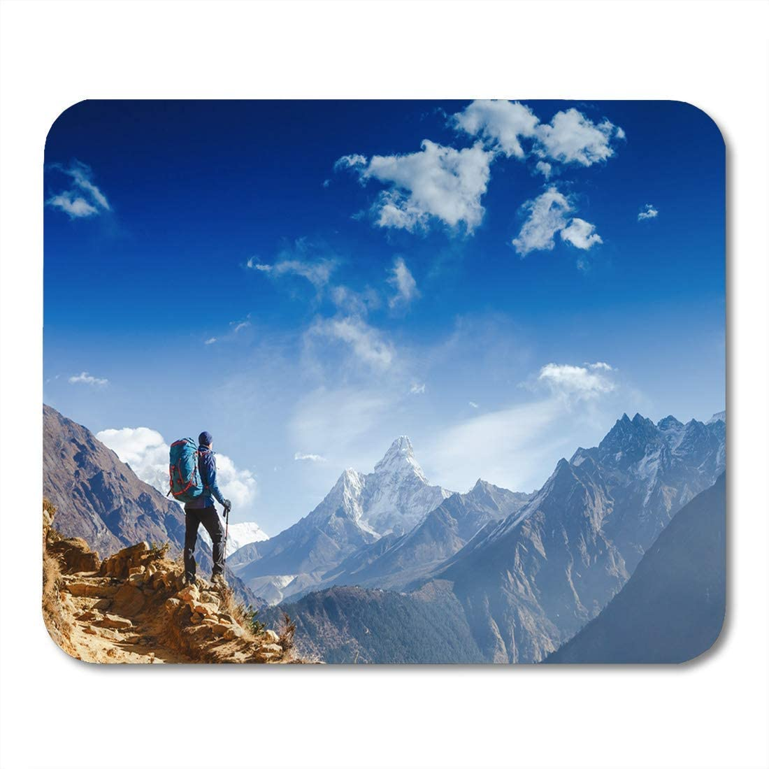 Office Supplies RWYZPAD Mouse Pad Happy Hiker Winning Reaching Life Goal Success Freedom Mousepad 9.8 x 7.9 for Notebooks,Desktop Computers Mouse Mats