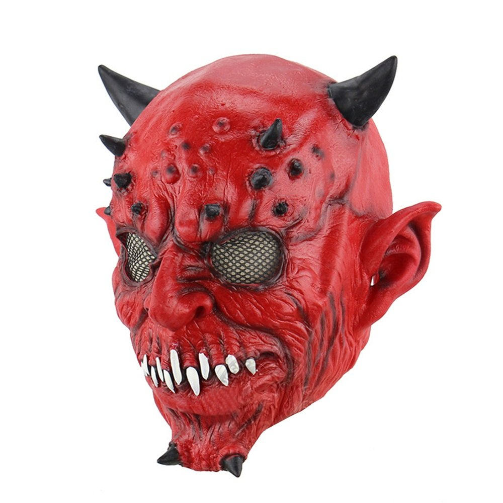 HBWJSH Hell Night Fork Horns Halloween Beads Haunted House Bar Orrore Fantasma Latex Mask