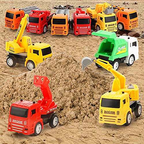 3 otters Engineering Car Toys, 12pcs Construction Vehicle Toys Colorful Pull Back Cars Toys Party Favors Gift Beach Car Toys