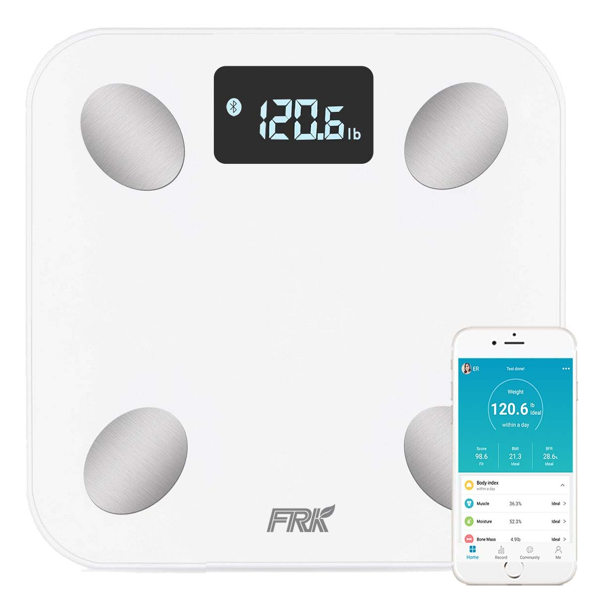 Bluetooth Body Fat Scale, FRK Smart Wireless Digital Bathroom Weight Scale Apple Health and Google Fit, Body Composition Analyzer for Body Weight, BMI, Body Fat, Muscle Mass,Water, White