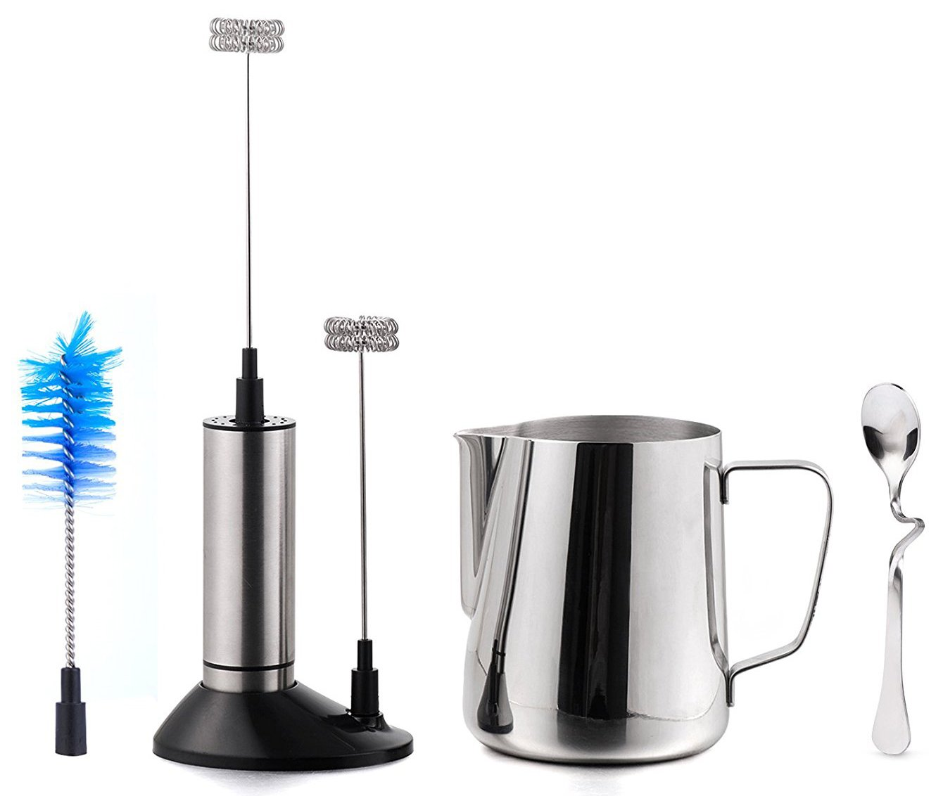 Milk Frother Set - Handheld Electric Foam Maker With Additional Double Spring Whisk Head + Food Grade 304 Stainless Steel Cup Frothing Pitcher Jug 20 Oz (600 ml) + Bent Milk Tea Coffee Spoon