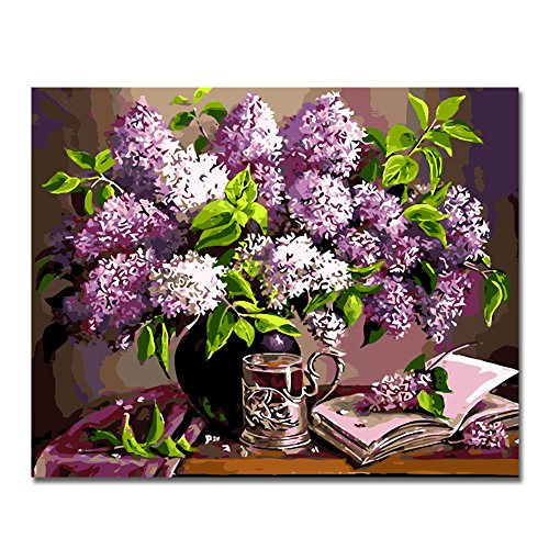 Rihe DIY Oil Painting Paint By Numbers Kits Mounted on Wood Frame with Brushes Painting Kits on Canvas for Adults Kids Flower Theme- Purple Flower 16x20 Inch(With Wood Frame)