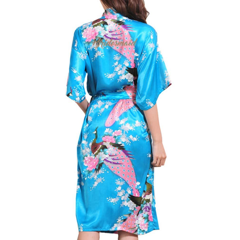 Mxssi Robe Kimono Albornoz Dama de Honor Sexy Batas Flor Dormir Regalo de Boda Vestido de Baño Cosmético Atractivo: Amazon.es: Ropa y accesorios