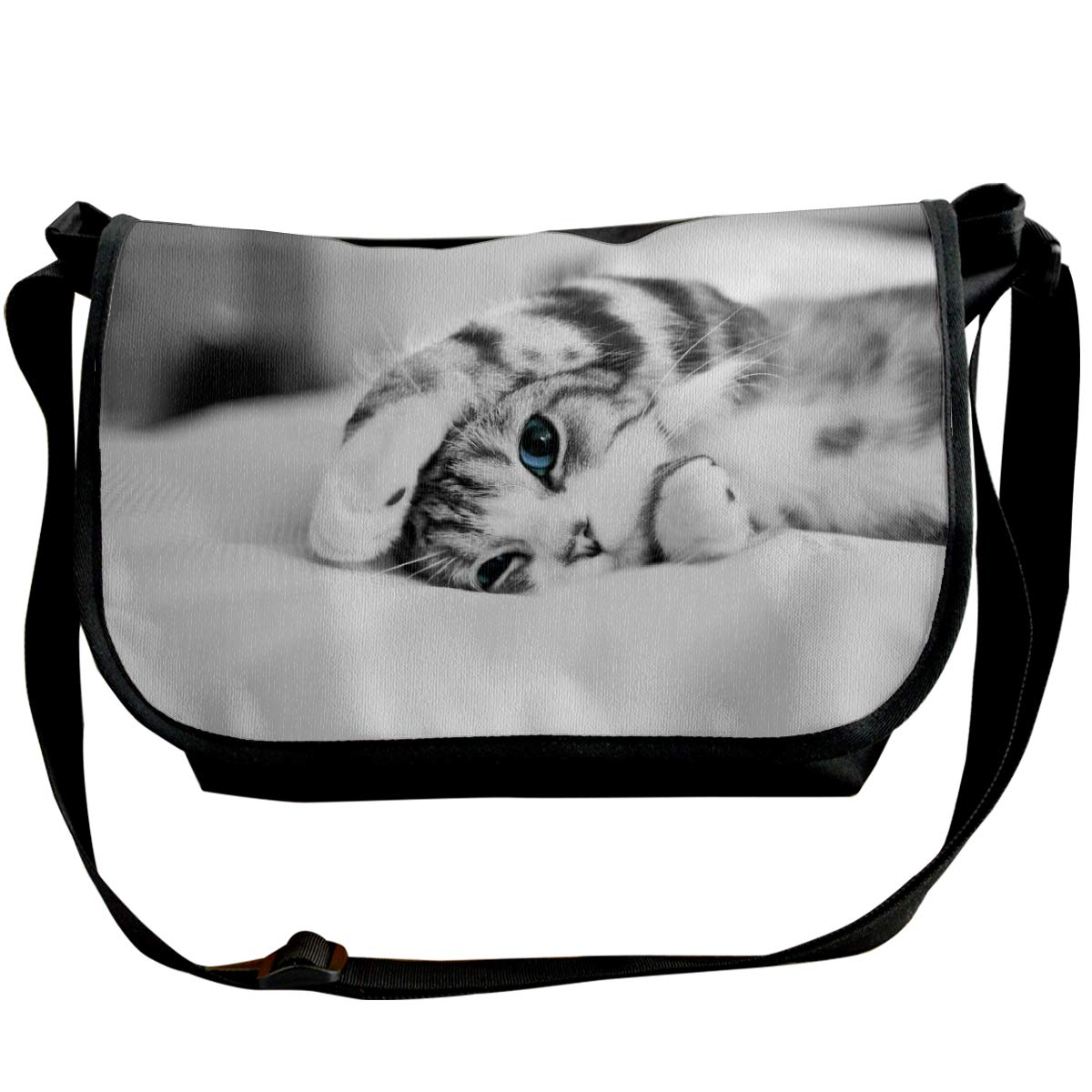Taslilye Blue Eyes Cat Cute Kitten Personalized Wide Crossbody Shoulder Bag For Men And Women For Daily Work Or Travel