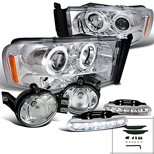 Spec-D Tuning L12-2LFLHPRAM02CTM Fog Headlight (Ram Chrome Halo LED Projector Lamp)