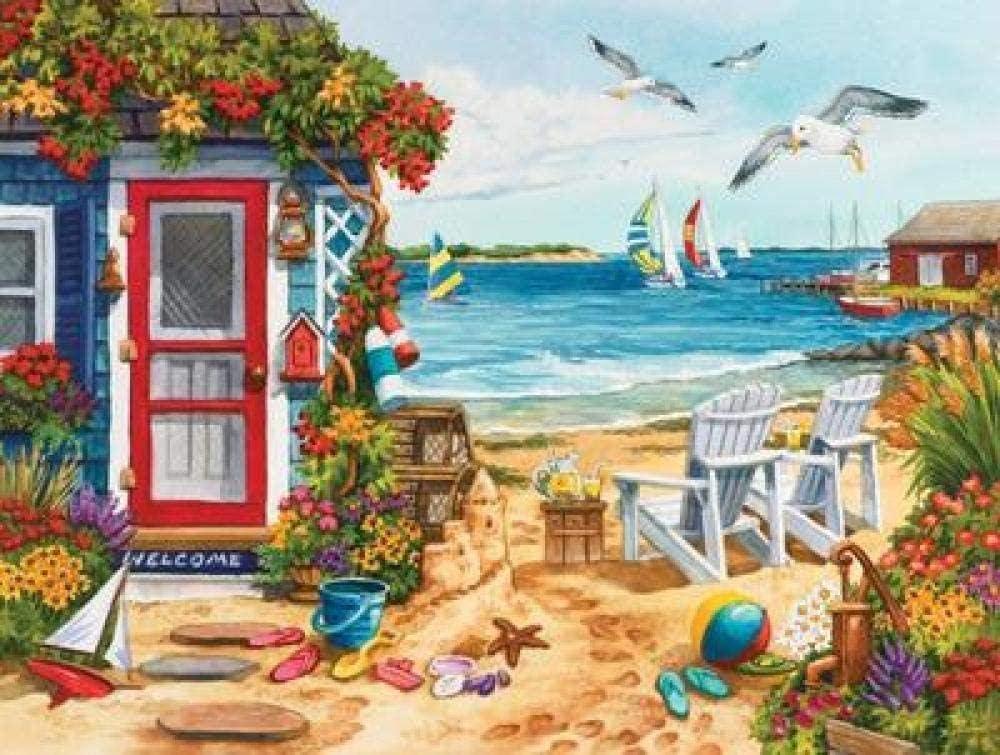LGCCC Puzzle 300 Piezas para Niños y Adultos Cabaña de verano en la playa Wooden Jigsaw Puzzles Classic Rompecabezas de Juguete Juego de Rompecabezas Intelectivo Educativo Puzzle Toy