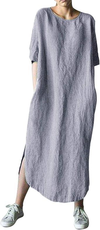 AUDATE - Vestido de Mujer de Lino y algodón, Manga Larga y ...