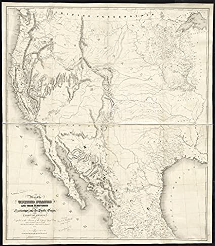 Amazon.com: Historic Map | 1850 Map of the United States and their ...