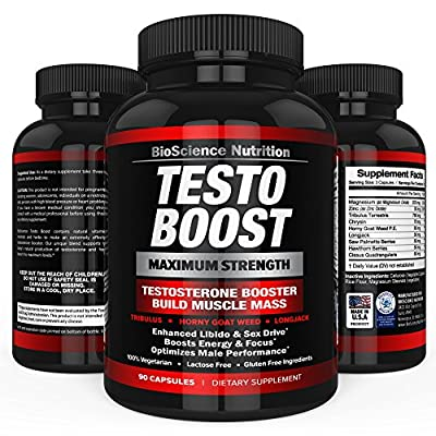 TESTOBOOST Testosterone Booster Supplement | Potent & Natural Herbal Pills | Boost Muscle Growth | Tribulus, Horny Goat Weed, Hawthorn, Zinc, Minerals| BioScience Nutrition USA