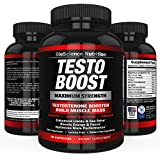 TESTOBOOST Testosterone Booster Supplement | Potent & Natural 90 Herbal Pills | Boost Men Muscle Growth, Sex Drive, Energy | Tribulus, Horny Goat Weed, Hawthorn, Zinc, Minerals | BioScience Nutrition