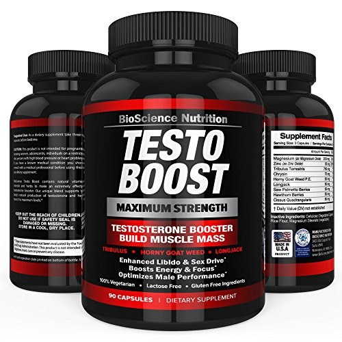 TESTOBOOST Testosterone Booster Supplement | Potent & Natural Herbal Pills | Boost Muscle Growth | Tribulus, Horny Goat Weed, Hawthorn, Zinc, Minerals| BioScience Nutrition USA 743541728032