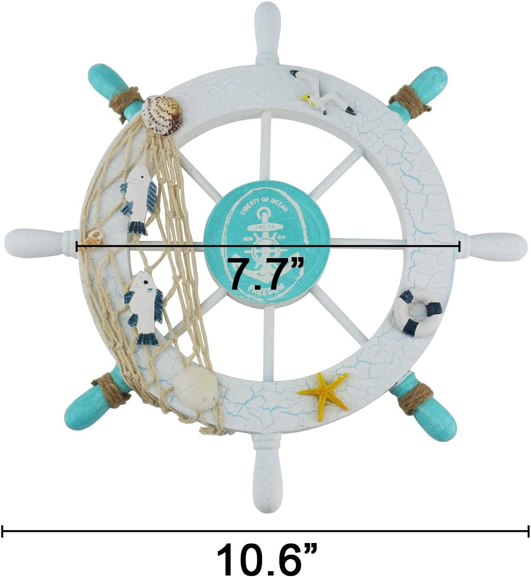 Ogrmar Mediterranean Nautical Wooden Boat Ship Steering Wheel//Handcrafted Wooden Ship Wheel Pirate Decor Wall and Door Hanging Ornament Plaque White Fish