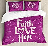 Ambesonne Hope Queen Size Duvet Cover Set by, Illustration of Western Spiritual Message Faith Hope Slogan on Purple Backdrop, Decorative 3 Piece Bedding Set with 2 Pillow Shams, Purple and Lilac