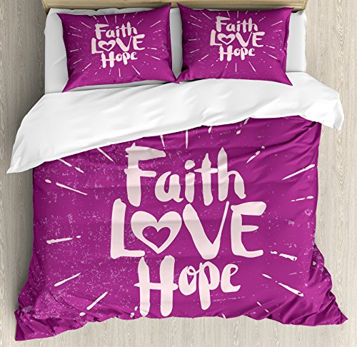 Ambesonne Hope Queen Size Duvet Cover Set by, Illustration of Western Spiritual Message Faith Hope Slogan on Purple Backdrop, Decorative 3 Piece Bedding Set with 2 Pillow Shams, Purple and Lilac by Ambesonne