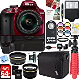 Nikon D3400 24.2 MP Digital SLR Camera with AF-P 18-55mm VR Lens Kit (Red) + 64GB Battery Grip Accessory Bundle