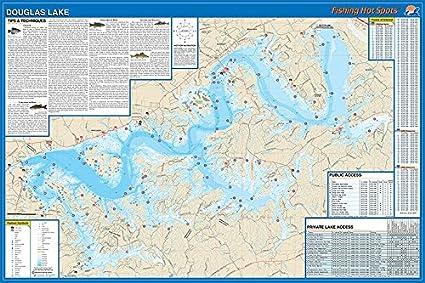 douglas lake fishing map Amazon Com Douglas Lake Fishing Map Sports Outdoors douglas lake fishing map