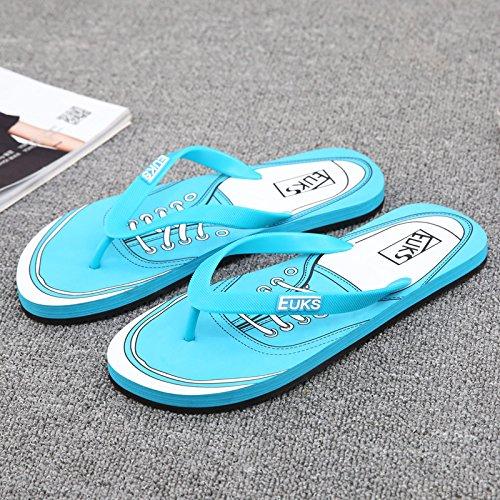 Xing Lin Sandalias De Hombre Flip-Flops De Hombres Jóvenes Del Hombre Nuevo Verano Antideslizante De La Juventud Masculina De Playa Cool Zapatillas Light blue