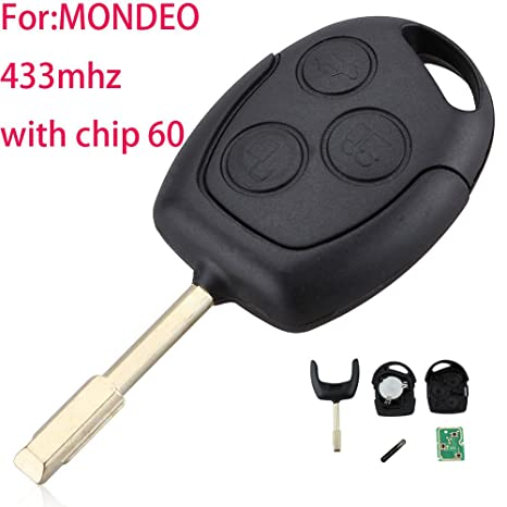 3 Button Car Remote Entry Key 433MHZ Replaces Fit For Ford Mondeo Fiesta Focus