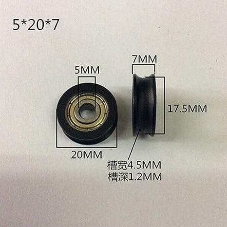 Winwill® 4Pcs 5 * 20 * 7mm negro POM recubierto rodamiento de bolas de rueda