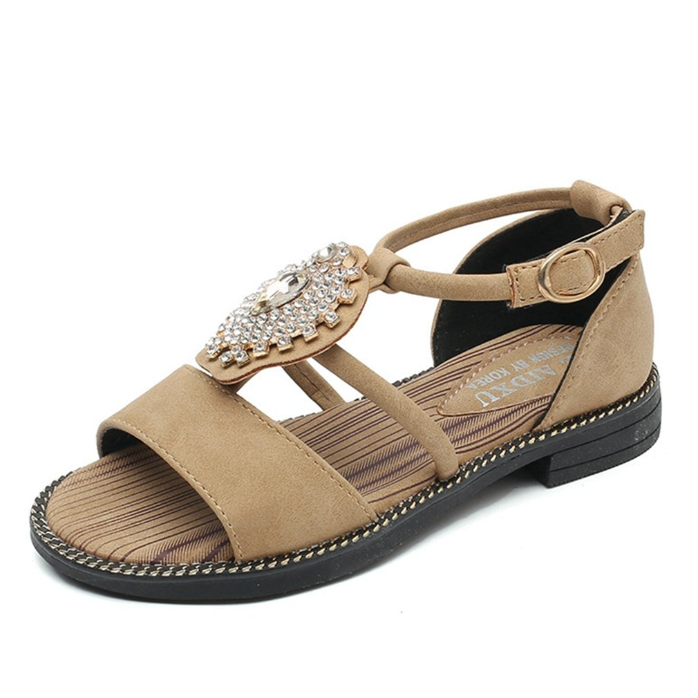 CYBLING Toddler Little Girl Rhinestone Gladiator Sandals Summer Roman Comfort Flat Shoes for Kids