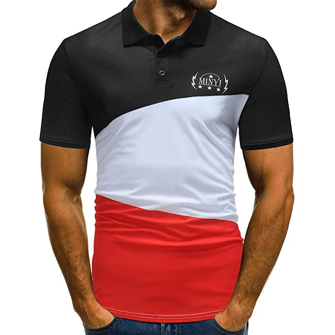 UK Mens Slim Fit Polo T Shirt Summer Collared Short Sleeve Casual Top Tee Blouse