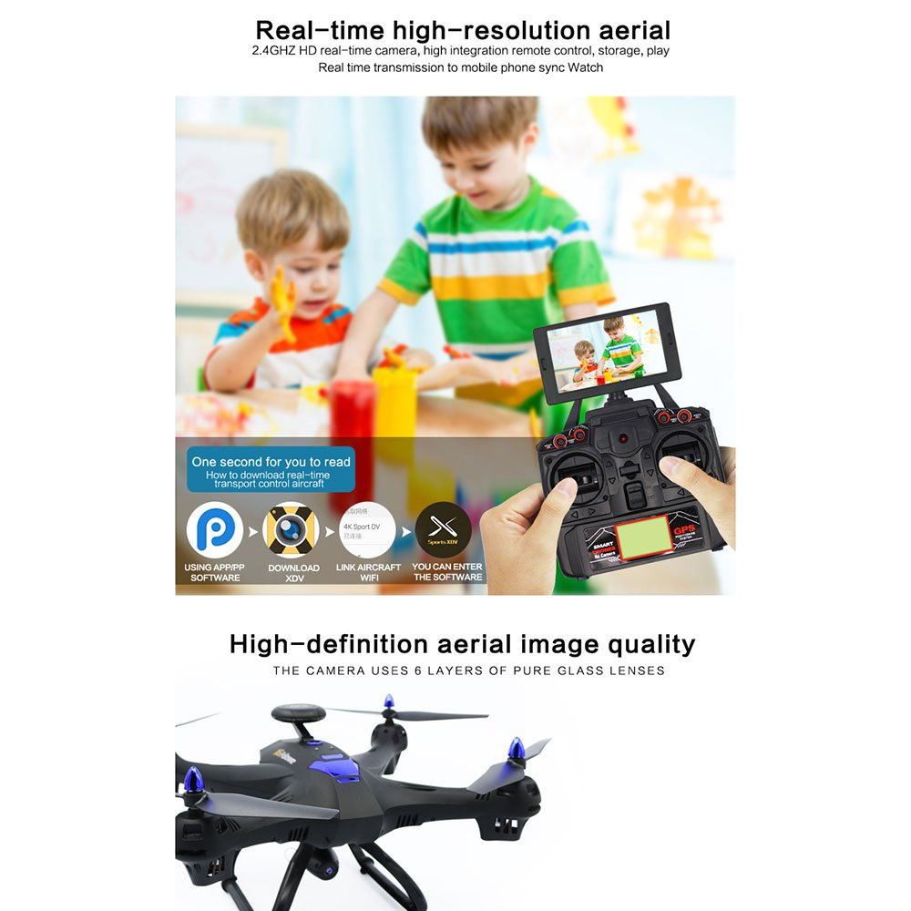 Cewaal Drone X183 con c/ámara 1080P Video en vivo y retorno de GPS a casa Stunt Rolling seguimiento autom/ático de GPS motores antiatascos Drone con modo sin cabeza para ni/ños funci/ón GPS Voyage