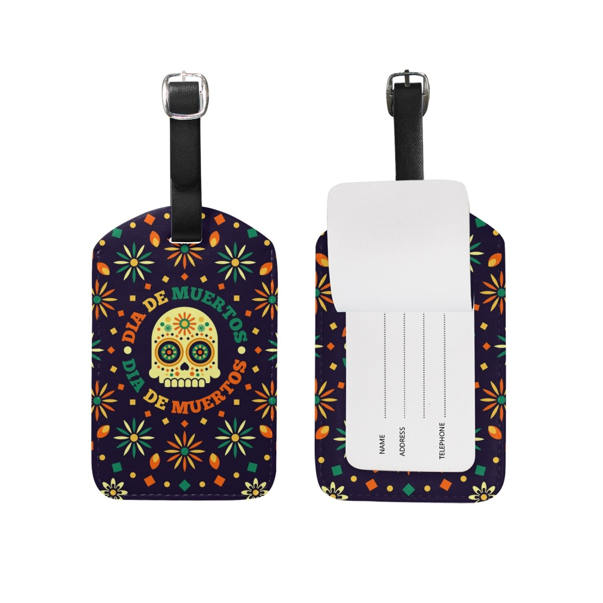Saobao Travel Luggage Tag Skull And Flower PU Leather Baggage Travel ID