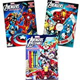 Marvel Avengers Coloring Book Super Set with Crayons (3 Jumbo Books - Over 260 Pages Total Featuring Captain America, Thor, Hulk, Iron Man and More!)