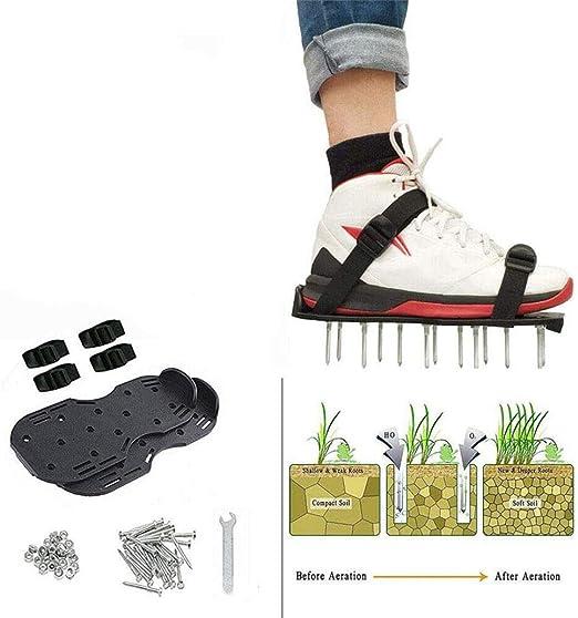 AUZZO HOME Zapatos Jardín de Césped Zapatos de aireador de césped con espigas Hebilla de Metal Correas de Nylon Ajustables Escarificador anticorrosivo Duradero para ventilación de jardín de césped: Amazon.es: Hogar