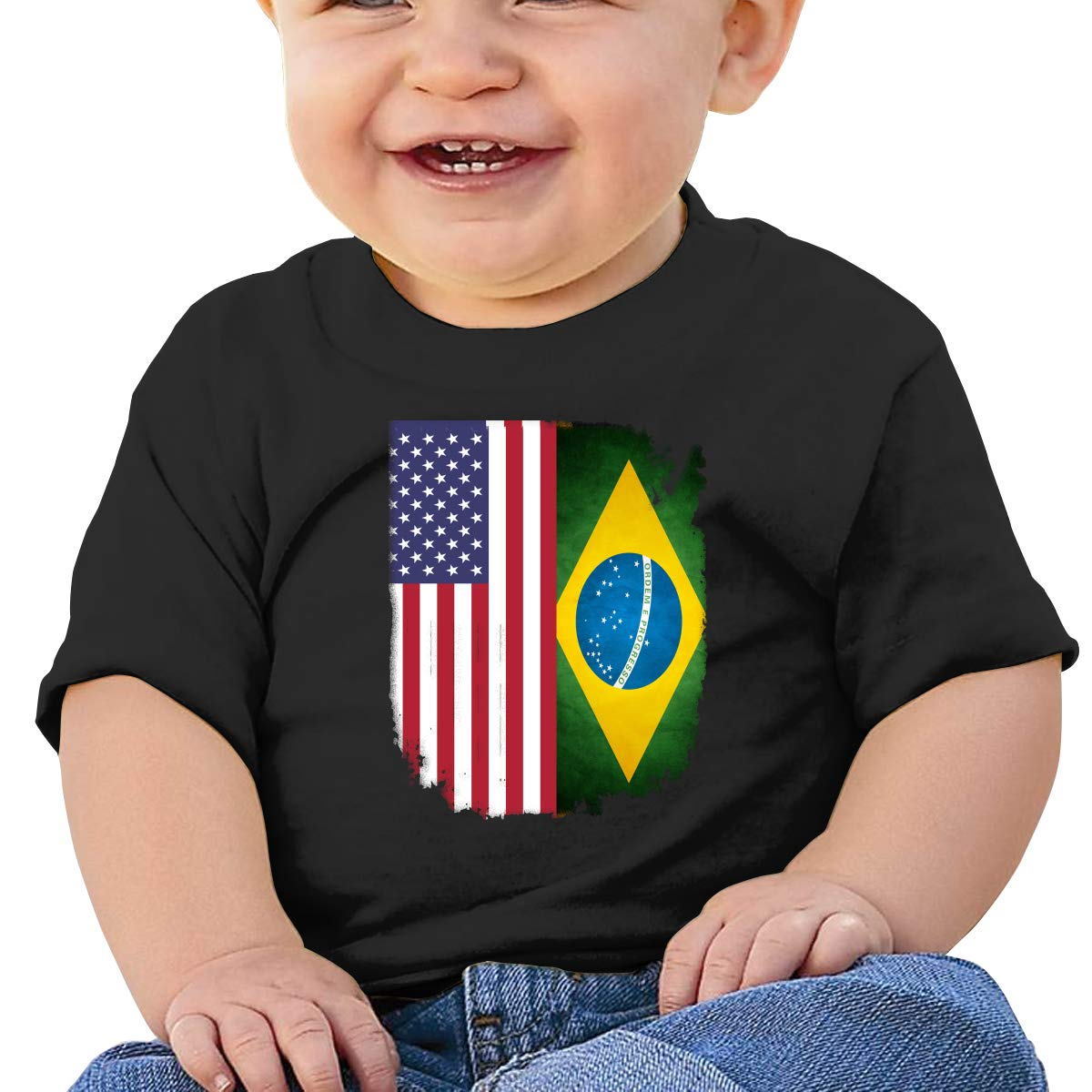 Brazil Flag of The United States Baby Boys Girls Short Sleeve Crew Neck T Shirts 6-18 Month Tops