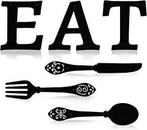 Metal Wall Hanging Kitchen Wall Decor EAT Sign Fork and Spoon Wall Decor Rustic Eat Decoration for Kitchen and Home Shabby Chic Farmhouse Kitchen Decor