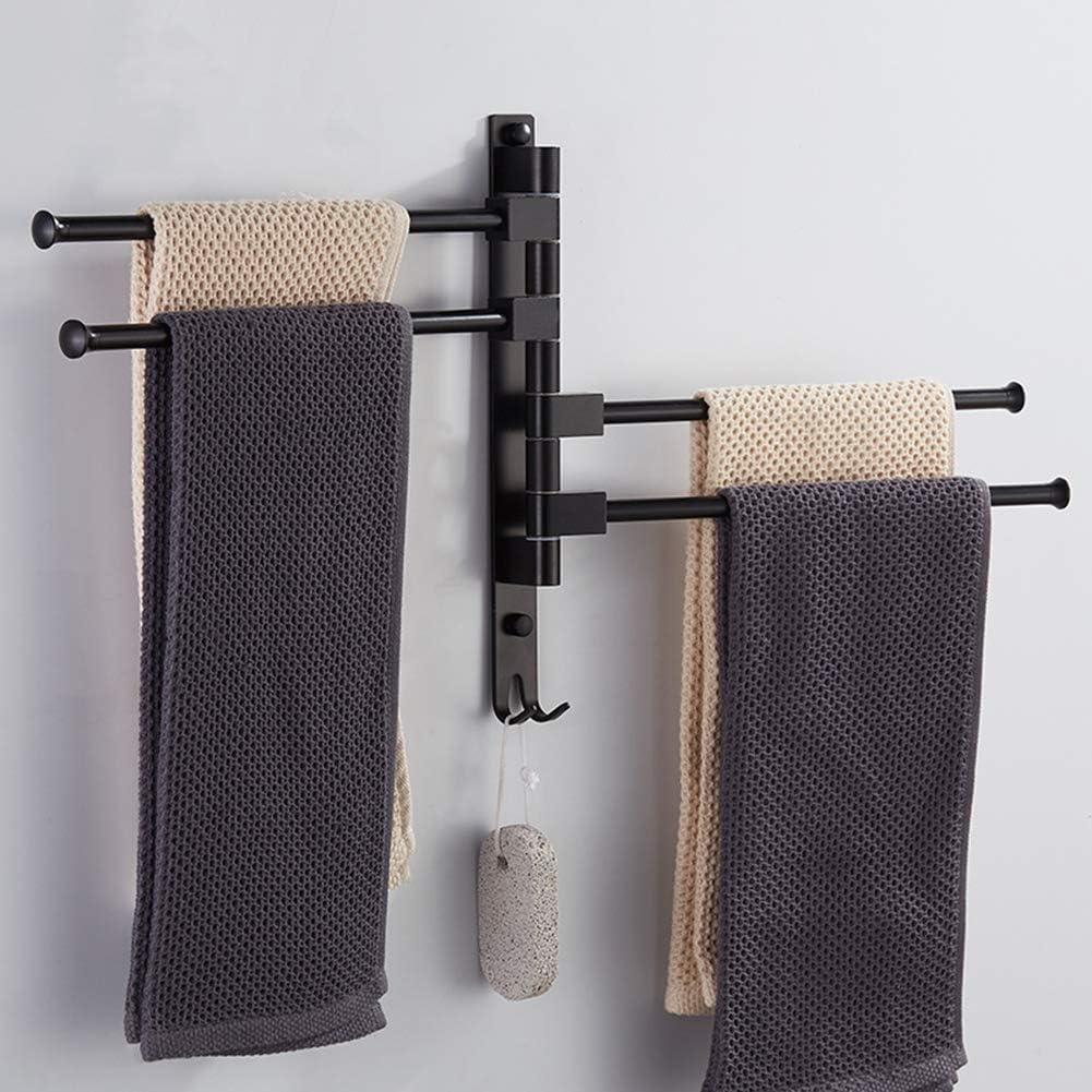 Utilis/é dans Une Salle De Bains Pouvant Tourner Non Poreux Mural Porte-Serviettes Noir Dalliage Daluminium-Magn/ésium Peint Cuisine CLEAVE Porte-Serviettes Rotatif Etc,2 Arm