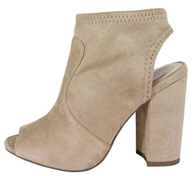 Delicious Women's Stretch Peep Toe Open Back Block Heel Sock Ankle Bootie