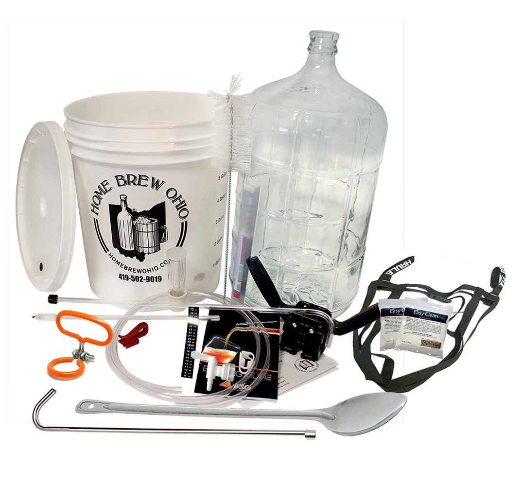 Gold Complete Beer Equipment Kit (K6p) Premium with 6 Gallon Glass Carboy, Carboy Handle, Stainless Spoon, Stainless Racking Cane, and Brew Hauler