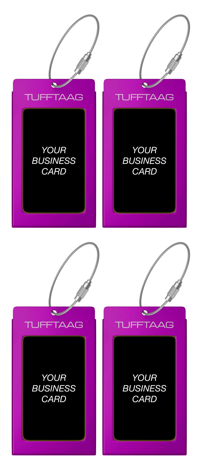 Luggage Tags TUFFTAAG for Business Cards, Metal Suitcase Labels, 4 Pack Bundle (4 Purple) by ProudGuy