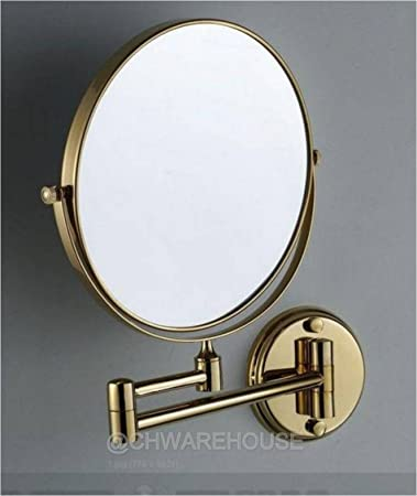 Gold 8quot Magnifying Mirror For Bath Wall Mounted Swing Arm 1