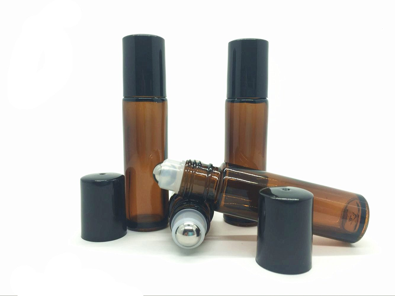 Empty Roll on Glass Bottles [STAINLESS STEEL ROLLER] 10ml Refillable Color Roll On for Fragrance Essential Oil - Metal Chrome Roller Ball (3 Pack -)