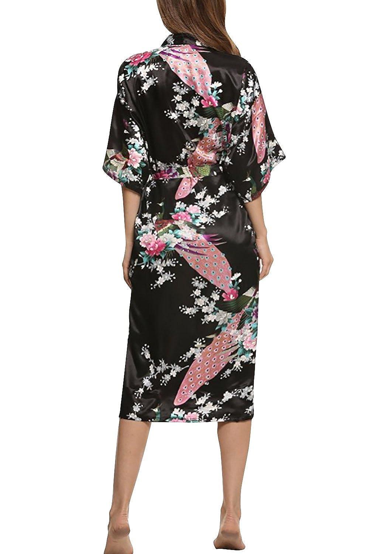 Pavo /& Flores Robe Albornoz Dama de honor Ropa de dormir Pijama Estilo largo Camis/ón para mujer Dolamen Mujer Albornoz Vestido Kimono Sat/én