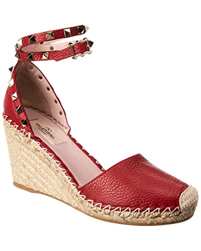 6cc1c0dc11d Image Unavailable. Image not available for. Color  VALENTINO Rockstud  Double Leather Espadrille Wedge ...