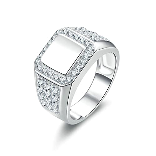 Daesar Joyería Anillo Compromiso de Plata Hombre, Pulido Princesa Forma Alianzas Boda Originales Diamantes Redondeados